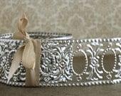 Silver Metal Garland Trim - Summer Sale 20% off NEW! 9 Foot Roll Embossed Oval Frames  - Vintage Style Decorative Metal Trim - Stamped Metal