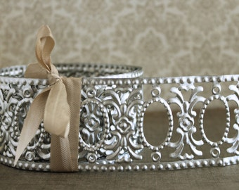 Silver Metal Garland Trim - Sale 20%  9 Foot Roll Embossed Oval Frames - Vintage Style Decorative Dollhouse - Stamped Metal Jewelry Frame