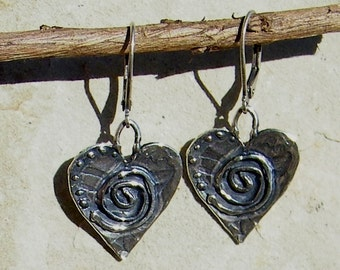 Artisan Jewelry Spiral Dotted Hearts Handcrafted Artisan Sterling Silver Heart Earrings