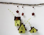Christmas ornaments, Decorations hanging, Houses felt,  Set of 3 cottages, Housewarming Gifts, Light Green tones.