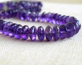 Outstanding Amethyst Gemstone Rondelle Purple Amethyst German Cut Faceted 8mm 25 beads
