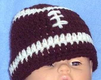 Baby Football Hat, Crocheted Football Beanie, Baby Photo Prop, Football Hat, Sports Beanie, Toddler Football Hat