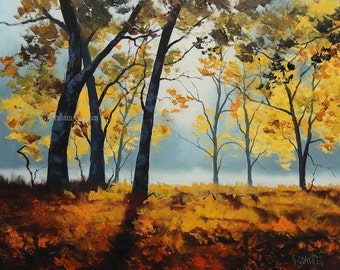 FOREST PAINTING Contemporary Landscape Trees Painting canvas art tree by G.Gercken