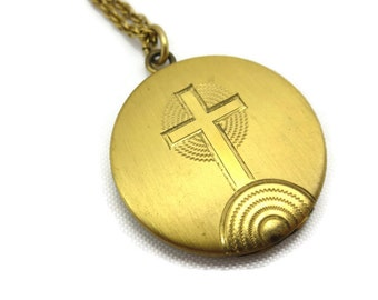 Cross Locket - Gold Round Locket Necklace
