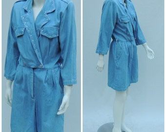 Vintage Denim Jumpsuit  //  80s Denim Romper  //  Vtg 1980s Made in the USA d.Frank Soft Light Wash Denim Shorts Jumpsuit with Epaulettes