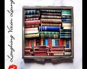 Book Mirror - Book Pill Box - Vintage Books Compact Mirror Style-G - Book Pill Case - Book Box - Literary Mirror - Reading