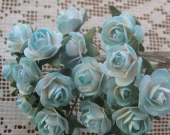 24 Petite Handmade Paper Millinery Roses In Sweet Blue Mix