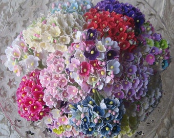 100 Bouquets Forget Me Nots Millinery Flocked Paper Flowers Pick Your Own Colors