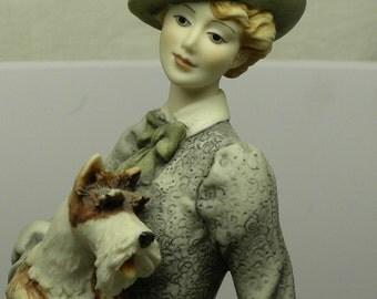Holiday Sale! Giuseppe  Armani Florence ELOISE Victorian Edwardian Lady FIGURINE with Scotty Dog  No. 350C Mint