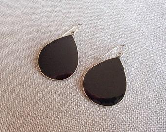 Black Enamel Teardrop Earrings for Ellen