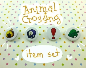 """Animal Crossing Buttons - Animal Crossing New Leaf Items - 1.25"""" Pinback Button Set"""