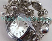 Chunky Silver n Rings.. Cute, Silver Plated Interchangeable Beaded Watch Band