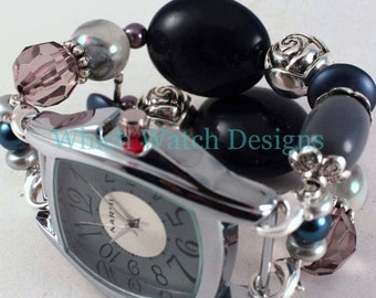 All Dressed Up.. Gray, Navy and Silver Elegant Interchangeable Beaded Watch Band