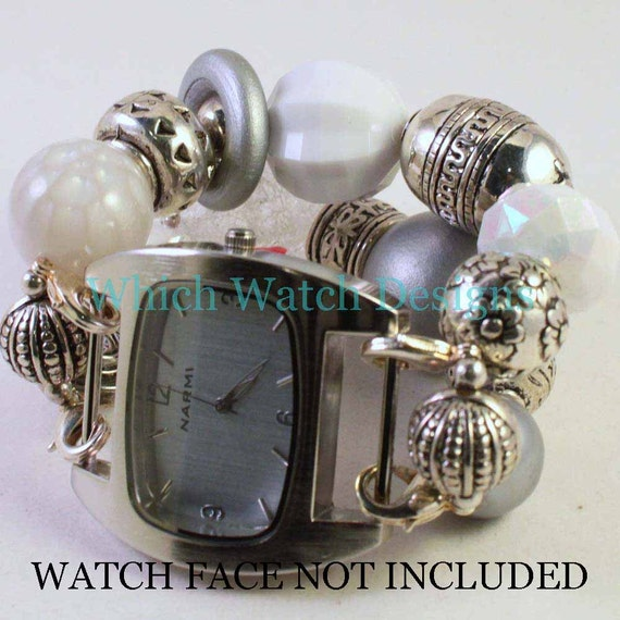 Silver Ice.. Extra Chunky White and Silver Interchangeable Beaded Watch Band