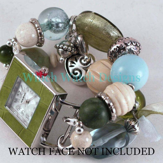 SALE Shabby Chic Green n Blue.. Olive Green, Baby Blue, and Cream Interchangeable Beaded Watch Band