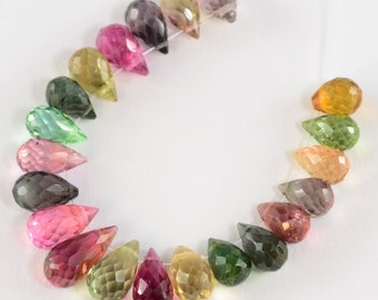 Old Mine Brazil Tourmaline Faceted Full Teardrop Beads (21)