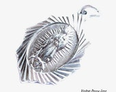 Silver Religious Pendant, Vintage Metal Charm