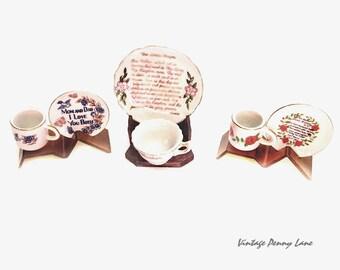 Vintage Porcelain Gift Plates, Miniature Cups / Dishes