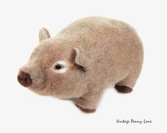 Felt Covered Syrofoam Pig Sculpture / Figurine