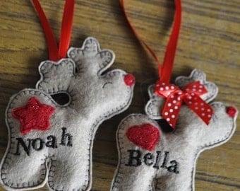 Reindeer boy or girl personalized felt  Christmas ornaments