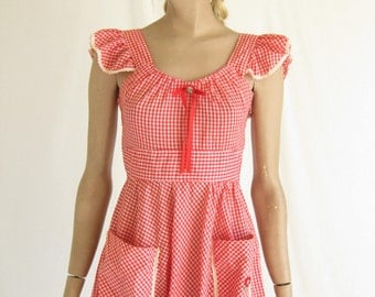 Vintage 70s Red and White Gingham  Boho Sundress. Size Small