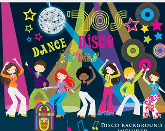 Disco clipart - retro clip art, dancing vintage jukebox albums music stars 1970s 70s scrapbooking clipart personal and commercial use