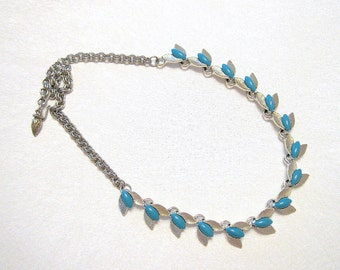 Vintage Turquoise Cabochon  Floral Necklace  Silvertone Restored