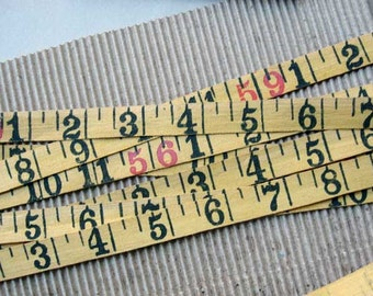 5 Foot Length of 1930 Vintage Linen Number  Measuring Tape in Black and  Yellow, Cloth Tape, Creative Fabric Tape