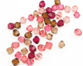 Marsala Mix - 48 Swarovski 4mm Bicone Beads - Swarovski Beads Article 5301 5328 4mm Beads In An Earthy Set Of Wines, Pinks, and Browns