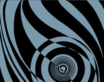 Op Art Circles Stripes Black Blue Sketchbook Fabric 1 yard