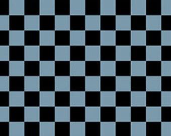 Checkerboard Black Blue Sketchbook Fabric 1 yard
