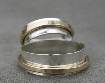 Thin Silver and Gold Spinner Ring