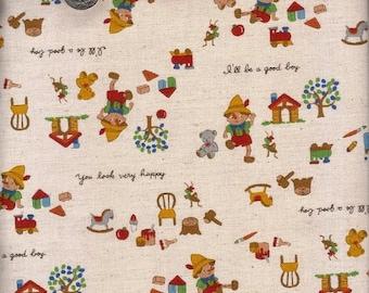 Half Yard Japanese Linen Blend Cotton Fabric Kokka Trefle Pinocchio 3 colors to choose