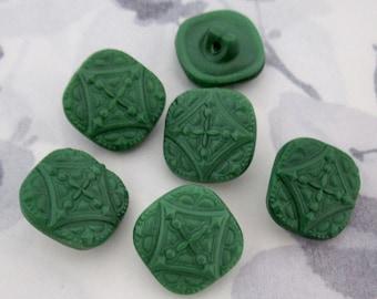 6 pcs. vintage glass green square -ish shank buttons 17mm - b136