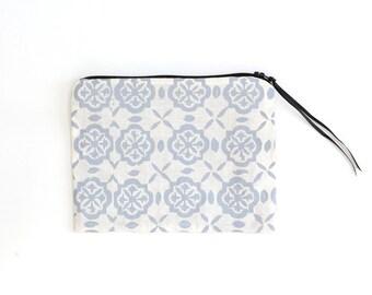 Grey Printed Zip Bag