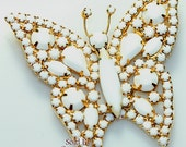 Milk Glass & Rhinestone Butterfly Brooch on Gold for Bride, Wedding Moth Bug Insect Figural Pin Vintage 1970s Bridal Fashion Jewelry Gift