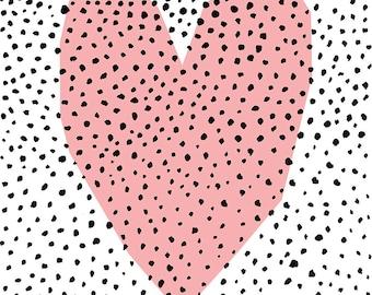 SALE Dotty Heart Archival Wall Art Print Kids and Nursery Decor patel pink