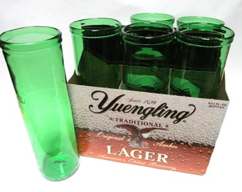 Six Pack Set of Recycled Yeungling Lager Beer Bottle Drinking Glass Cups