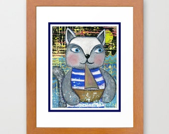Sailor Kitty Cat Print from my original illustration 8x10 by Tanya Besedina