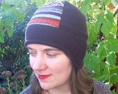 SALE -- Warm Brown and Orange Striped Aviator Hat with Ear Flaps - size SMALL or MEDIUM, 50% Off!