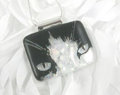 Cat Face Fused Glass Necklace - Black and White Cat Jewelry