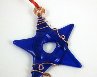 Glass Star Christmas Ornament -  Cobalt Blue Fused Glass Star Suncatcher Ornament