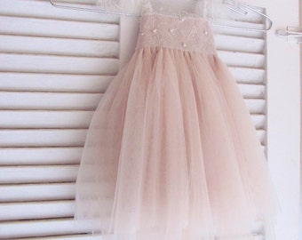 Ballade del Vientre Chantilly lace and silk tulle dress Ivory over blush color for baby girl Flower girl dress ivory tutu dress