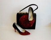 1950s purse set / Charming Chinese Vintage 50's Red and Black Bag and Shoes