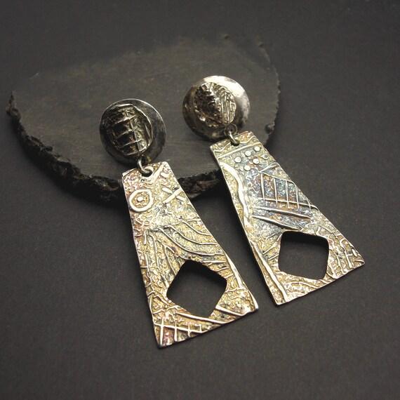 Simpatico - Long Sterling Silver Post Earrings by Designs By Suzyn