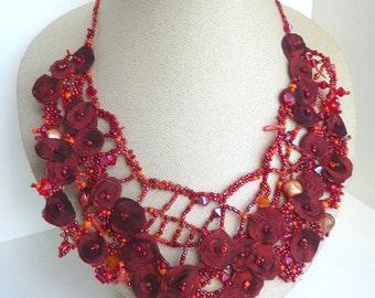 Scarlet IX necklace, deep red beaded bib necklace, free form peyote stitch jewelry, unique beadwork red beads bohemian, statement, Coachella