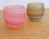 Vintage Spaghetti String Drizzle Glasses • Pair Pink and Brown Drizzle Glass • Mid Century Poly Poly Glass
