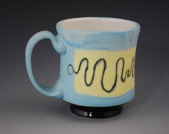 Hand Made  Mug with Squiggly Line,Light Blue And Yellow