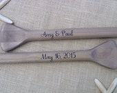 """58"""" Personalized Natural Driftwood Gray/Brown Paddles (2) for Nautical Wedding Guest Book with Bride & Groom Names and Wedding Date / Beach"""