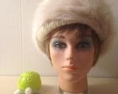 Vintage White Faux Fur Hat